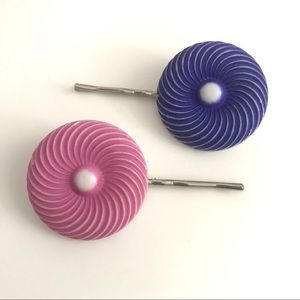 Vintage 1960's mod spiral bobby pins hair clips